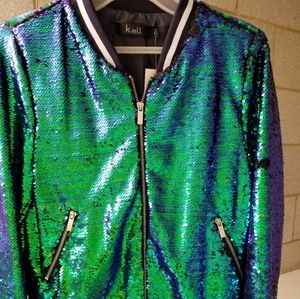 Green mermaid iridescent sequinned jacket, M